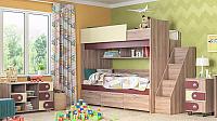 Двухъярусная кровать Мебель-КМК Бамбино 3-1 0527 (дуб сонома/капучино) -