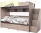 Двухъярусная кровать детская Мебель-КМК Бамбино 3-1 0527 (дуб сонома/капучино) -