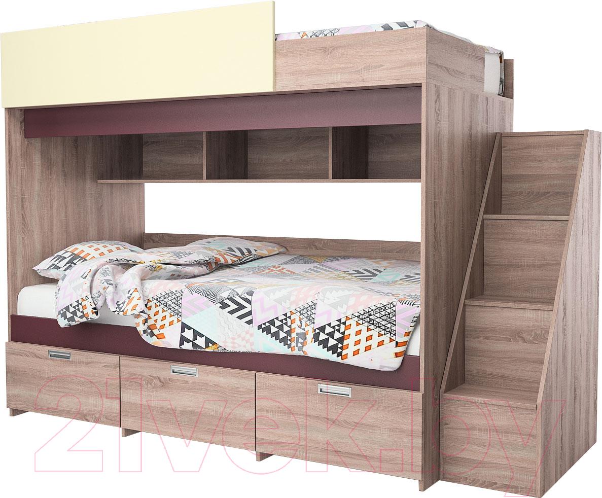 Купить Двухъярусная кровать Мебель-КМК, Бамбино 3-1 0527 (дуб сонома/бургунд желтый), Беларусь