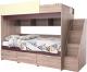Двухъярусная кровать Мебель-КМК Бамбино 3-1 0527 (дуб сонома/бургунд желтый) -