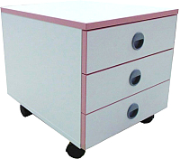 Тумба Comf-Pro Trio 2 (белый/розовый декор) -