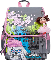 Сумка/рюкзак/чемодан Grizzly RA-877-1 (серый/розовый) -