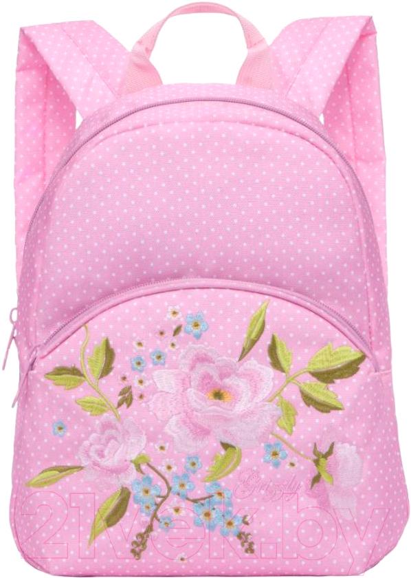Купить Рюкзак Grizzly, RL-859-2 (розовый/горохи), Китай, полиэстер