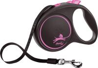Поводок-рулетка Flexi Black Design ремень / 12356 (S, розовый) -