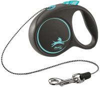 Поводок-рулетка Flexi Black Design трос / 12252 (S, синий) -