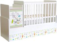 Детская кровать-трансформер Polini Kids Фея 1100 Медвежонок (белый) -