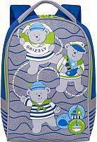 Детский рюкзак Grizzly RS-892-1 (синий/салатовый) -