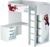 Кровать-чердак детская Polini Kids Marvel 4355 Человек паук (белый) -