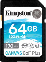Карта памяти Kingston Canvas Go Plus SDXC (Class10) 64Gb (SDG3/64GB) -