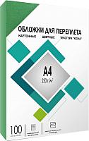 Обложки для переплета Гелеос CCA4G А4, под кожу (зеленый) -