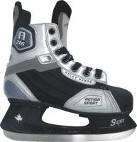 Коньки хоккейные Action Play PW-216Y (размер 39, черный/серый) -