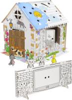 Детский игровой домик ZIMA Домик-раскраска + телевизор + 4 сборные зверюшки / ДИР01 -