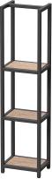 Стеллаж Millwood Венеция 40x30x159.5 (дуб табачный Craft/металл черный) -