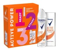 Набор косметики для тела Rexona Active Power 2020 Дезодорант-спрей+Гель для душа+фитнес лента (150мл+180мл) -