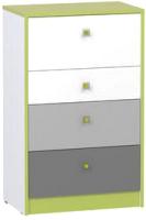 Комод Mobi Альфа 13.120 (лайм зеленый/темно-серый/белый премиум/стальной серый) -