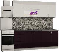 Готовая кухня Senira Вяселка 3 2.0м 7в (белый кристальный/черная смородина) -