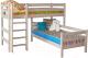 Двухъярусная кровать детская Мебельград Соня вариант 7 (массив сосны прозрачный лак) -