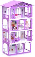 Кукольный домик Krasatoys Дом Елена с мебелью / 000283 (белый/сиреневый) -