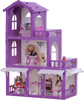Кукольный домик Krasatoys Дом Николь с мебелью / 000287 (белый/сиреневый) -