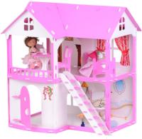 Кукольный домик Krasatoys Коттедж Светлана с мебелью / 000250 (белый/розовый) -