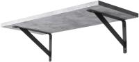 Полка Stoly By Лайн / П-1.6Л (бетон чикаго светло-серый/черный держатель) -