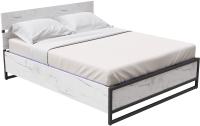 Двуспальная кровать Millwood Лофт КМ-4.8 Л 207x188x95 (дуб белый Craft/металл черный) -