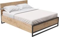 Двуспальная кровать Millwood Лофт КМ-4.8 Л 207x188x95 (дуб золотой Craft/металл черный) -