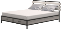 Двуспальная кровать Millwood Neo Loft КМ-1.8 Л 207x202x94 (дуб белый Craft/металл черный) -