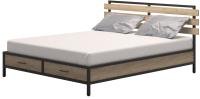 Двуспальная кровать Millwood Neo Loft КМ-1.8 Л 207x202x94 (дуб золотой Craft/металл черный) -