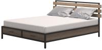 Двуспальная кровать Millwood Neo Loft КМ-1.8 Л 207x202x94 (дуб табачный Craft/металл черный) -