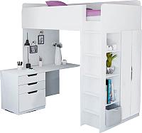 Кровать-чердак Polini Kids Simple с письменным столом и шкафом (белый) -