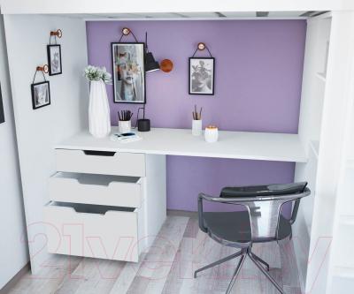 Кровать-чердак Polini Kids Simple с письменным столом и шкафом (белый)