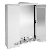 Шкаф с зеркалом для ванной Ванланд Жемчуг Жз 4-80 (серая вставка, левый) -