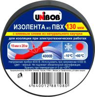 Изолента Unibob ПВХ 15мм x 20м 130 мкн / 59644 (черный) -