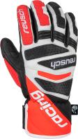 Перчатки лыжные Reusch Worldcup Warrior DH / 6011119-7810 (р-р 8.5, Black/White/Fluo Red) -