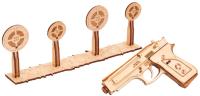 Пистолет игрушечный Wood Trick Пистолет-резинкострел с мишенями / 1234-10 -