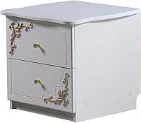 Прикроватная тумба Мебель-КМК Розалия 0456.3-02 (белый/белый жемчуг/патина золото) -