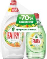Набор чистящих средств Fairy Окси. Апельсин и Лимонник + Pure & Clean Бергамот и Имбирь (900мл+450мл) -