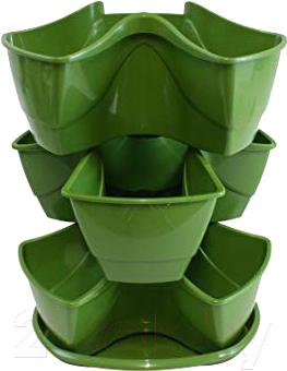 Купить Кашпо Prosperplast, Coubi DKN3003-370U (оливковый), Польша, пластик