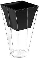 Кашпо Prosperplast Urbi Twist P DURD140P-CPNO (прозрачный/черный) -