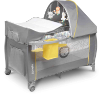 Кровать-манеж Lionelo Sven Plus (серый/желтый) -