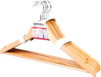 Набор вешалок-плечиков Brabix Стандарт р.48-50 / 601159 (5шт, сосна) -