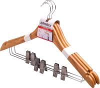 Набор вешалок-плечиков Brabix Стандарт р.48-50 / 601170 (3шт, сосна) -