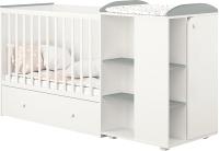 Детская кровать-трансформер Polini Kids Ameli 800 с комодом / 0002278.55 (белый/серый) -
