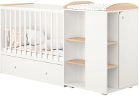 Детская кровать-трансформер Polini Kids Ameli 800 с комодом / 0002278.62 (белый/дуб пастельный) -