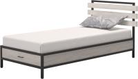 Односпальная кровать Millwood Лофт КМ-1.1/1 Л 207x112x94 (дуб белый Craft/металл черный) -