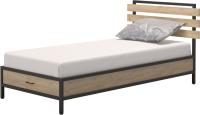 Односпальная кровать Millwood Лофт КМ-1.1/1 Л 207x112x94 (дуб золотой Craft/металл черный) -