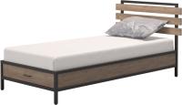 Односпальная кровать Millwood Лофт КМ-1.1/1 Л 207x112x94 (дуб табачный Craft/металл черный) -