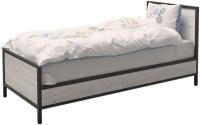 Односпальная кровать Millwood Лофт КМ-2.1/1 Л 207x97x94 (дуб белый Craft/металл черный) -
