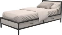 Односпальная кровать Millwood Лофт КМ-3.1/1 Л 207x97x81 (дуб белый Craft/металл черный) -